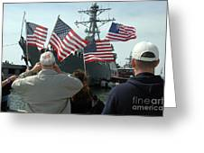 Family Members Wave Flags To Show Greeting Card