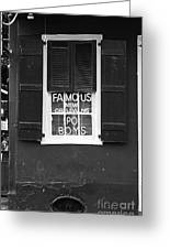 Famous New Orleans Po Boys Neon Window Sign Black And White Accented Edges Digital Art Greeting Card