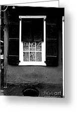 Famous New Orleans Po Boys Neon Window Sign Black And White Conte Crayon Digital Art Greeting Card