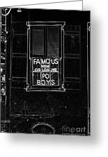 Famous New Orleans Po Boys Neon Window Sign Black And White Glowing Edges Digital Art Greeting Card