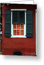 Famous New Orleans Po Boys Red Neon Window Sign  Greeting Card