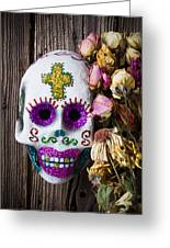 Fancy Skull And Dead Flowers Greeting Card by Garry Gay