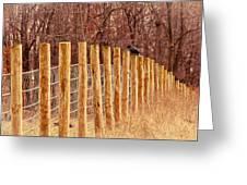 Farm Fence And Birds Greeting Card
