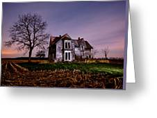 Farm House At Night Greeting Card