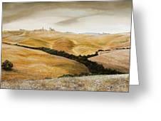 Farm On Hill - Tuscany Greeting Card