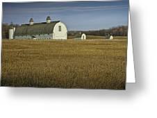 Farm Scene With White Barn Greeting Card