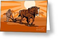 Farmer And Horse Plowing Farm Retro Greeting Card by Aloysius Patrimonio