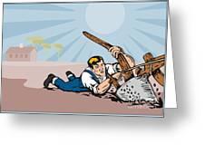 Farmer Dragged Plow Plowing Farm Retro Greeting Card by Aloysius Patrimonio