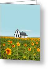 Farmhouse In A Field Of Sunflowers Greeting Card