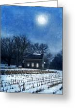 Farmhouse Under Full Moon In Winter Greeting Card