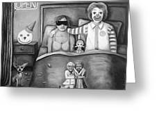Fast Food Nightmare Bw Greeting Card