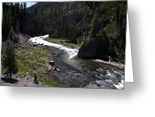 Fast Rapids On Firehole River Yellowstone  Greeting Card