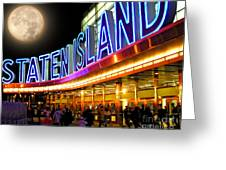 Faux Moon At The Staten Island Ferry Greeting Card