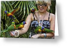 Feeding Rainbow Lorikeets Greeting Card