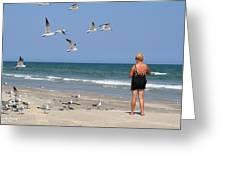 Feeding The Sea Gulls Greeting Card