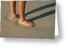 Feet In The Wet Sand Of A Beach Wait Greeting Card