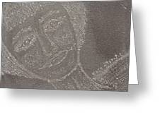 Female  Face  On  Steel  Two Greeting Card