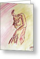 Female Nude Figure Sketch In Watercolor Purple Magenta And Yellow With A Warm Sunlit Background Greeting Card