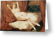 Female Nude Reclining On A Divan Greeting Card by Eugene Delacroix
