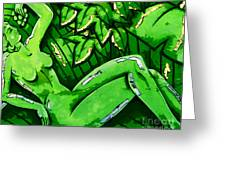 Female On A Mardi Gras Float Painted Greeting Card