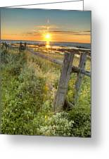 Fence Along The Shore Greeting Card