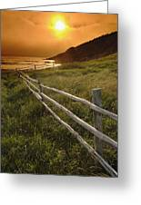 Fence And Sunset, Gooseberry Cove Greeting Card