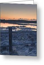 Fence By Lake At Sunset Greeting Card