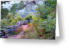 Fence To The Blueberries Filtered Greeting Card