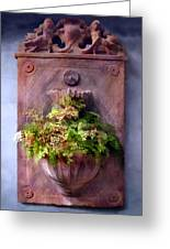 Fern In Antique Wall Planter Greeting Card