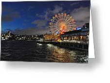 ferris wheel at night in Sydney Harbour Greeting Card by Jacques Van Niekerk