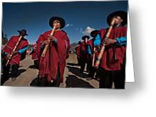 Festival De Danzas Tradicionales En La Poblacion De Copusquia. Republica De Bolivia. Greeting Card by Eric Bauer