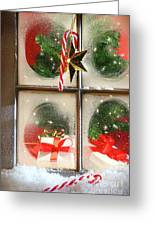 Festive Holiday Window Greeting Card by Sandra Cunningham