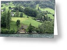 Few Houses On The Slope Of Mountain Next To Lake Lucerne Greeting Card