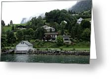 Few Houses On The Slope Of Mountain Next To Lake Lucerne In Switzerland Greeting Card