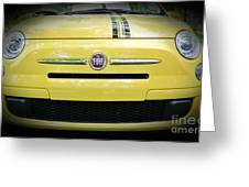 Fiat 500 Yellow With Racing Stripe Greeting Card