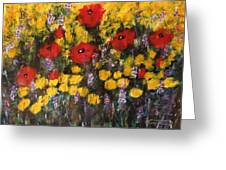 Field Of Flowers With Poppies Greeting Card