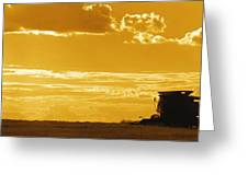 Field With Combine At Sunset Greeting Card