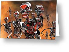 Fierce Androids Riot The City Of Tokyo Greeting Card