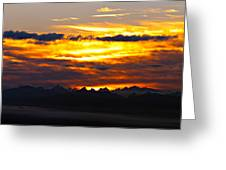 Fiery Sunrise Over The Cascade Mountains Greeting Card