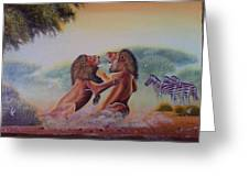 Fighting Lions Greeting Card
