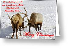 Fighting Over Wishing You A Merry Christmas Greeting Card
