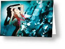 Fine Art Portrait Of Fashion Woman Posing Over Abstract Background Greeting Card