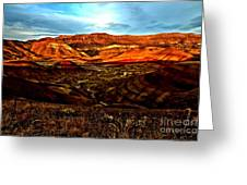 Fire In The Painted Hills Greeting Card