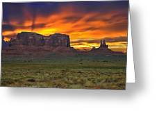 Fire In The Sky Over The Valley Greeting Card