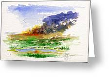Fire On The Pond Greeting Card