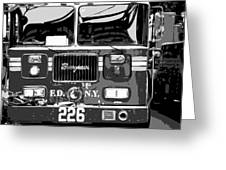 Fire Truck Bw6 Greeting Card