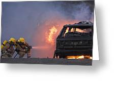 Firefighters Hosing A Burning Car Greeting Card by Duncan Shaw