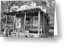Fireman Cottage B And W Greeting Card