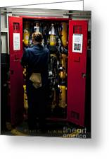 Fireman Stows A Self-contained Greeting Card