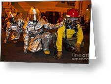 Firemen Brace For Shock Greeting Card by Stocktrek Images